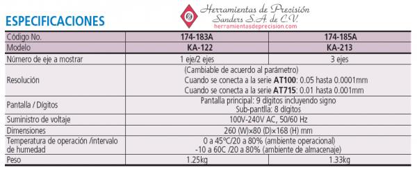 contador ka-200 serie-174 tipo estandar especificaciones