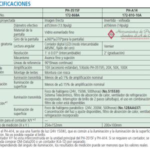 serie-172 PH-3515F PH-A14 especificaciones