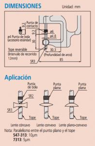 medicion de espesor de lentes dimensiones aplicacion