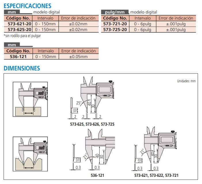 calibrador con puntas especiicaciones dimensiones