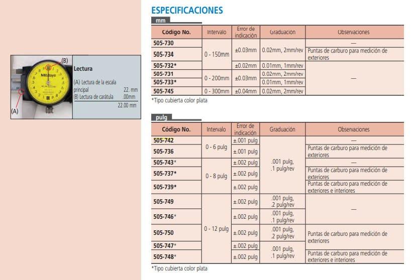 calibrador de carátula especificaciones
