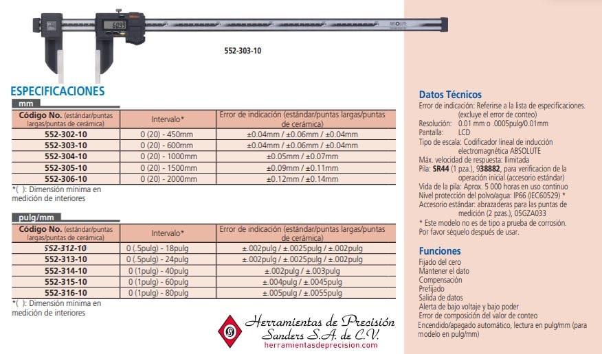 calibrador de fibra de carbón a prueba de refrigerantes 552-3-10