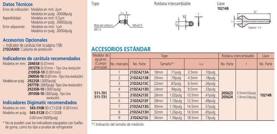medidor de agujeros tipo estándar serie-511 datos técnicos