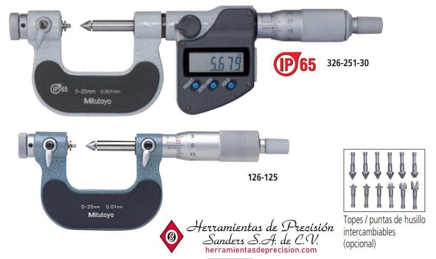 micrómetros para roscas tipo punta de tope husillo intercambiables modelos