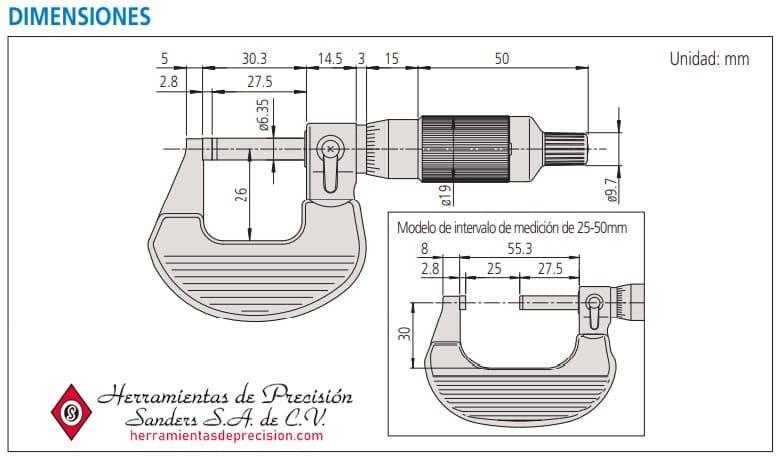 micrometro de exteriores de tambor con trinquete dimensiones