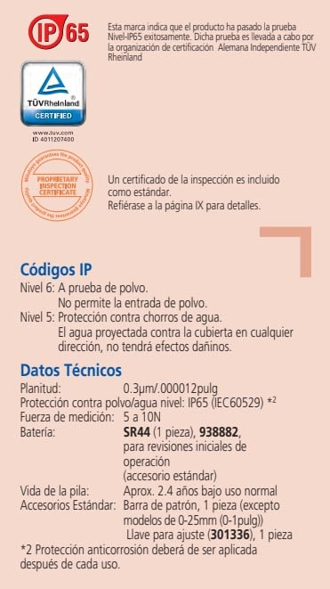 micrometros datos tecnicos