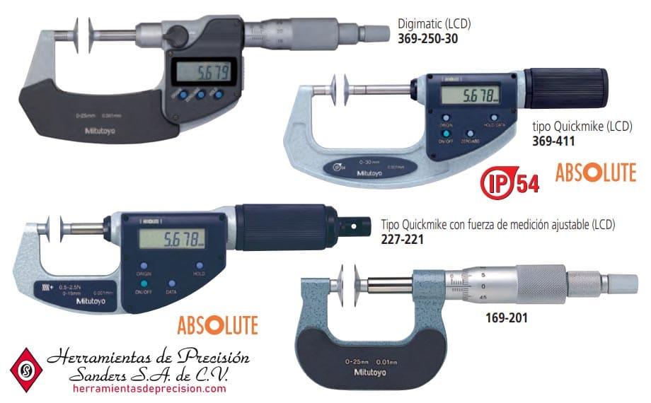 Micrómetros de disco tipo husillo sin rotación otros modelos