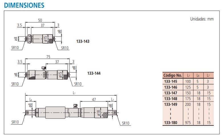micrómetros de interiores dimensiones