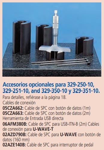 micrometros de profundidades accesorios opcionales