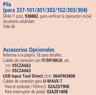 micrómetros para interiores accesorios opcionales