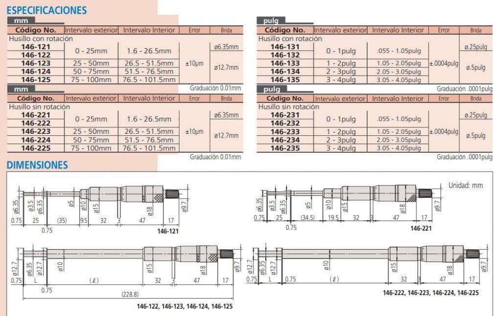 micrómetros para ranuras especificaciones dimensiones