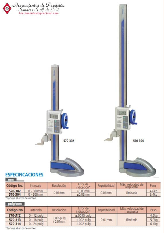 Medidor de Alturas Digimatic ABSOLUTE 570-302 570-304
