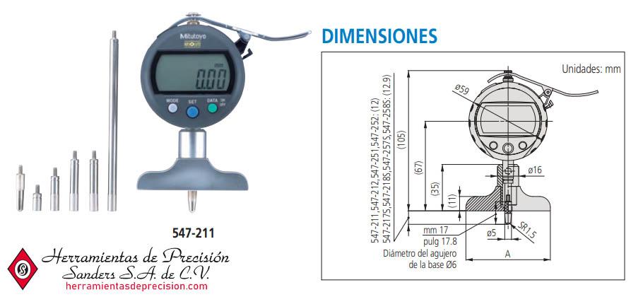 Medidor de Profundidad Digimatic ABSOLUTE SERIE 547 - Dimensiones