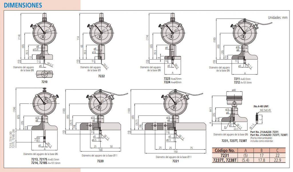 Medidor de Profundidad con Caratula - dimensiones