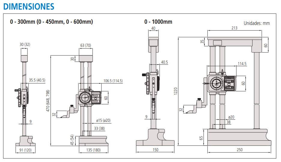 medidor de alturas con caratula dimensiones