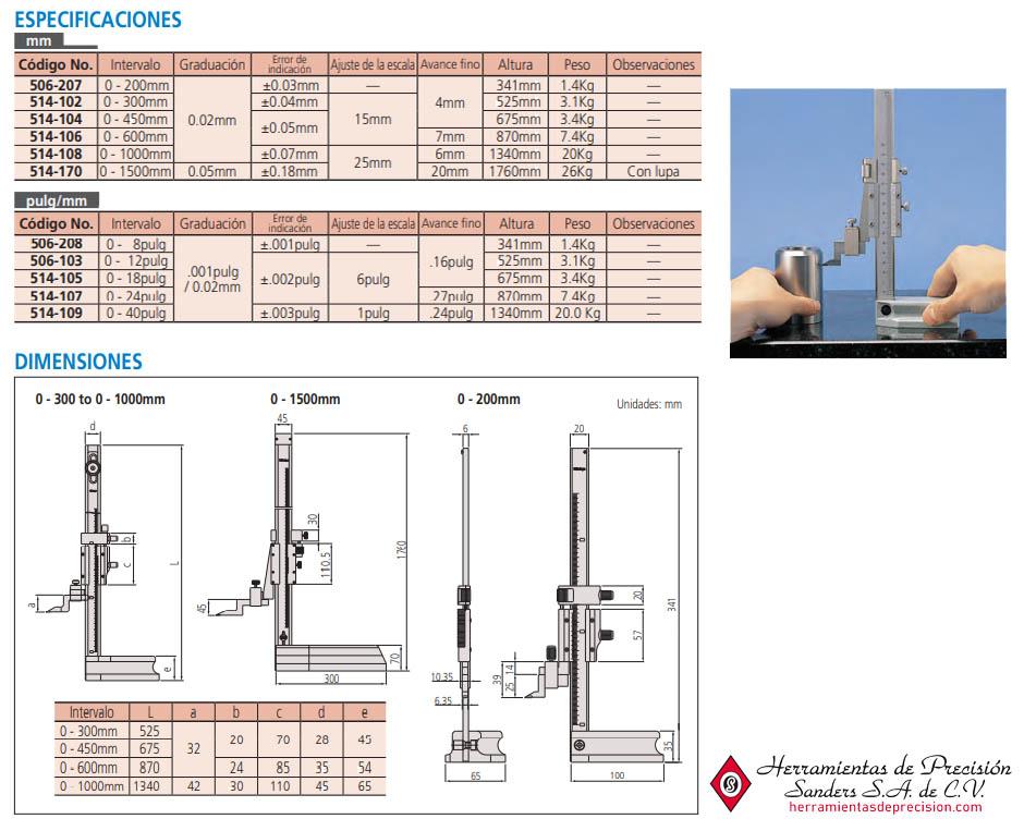 medidor de alturas vernier especificaciones dimensiones