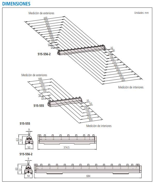 patrón de cerámica para calibradores serie-515 dimensiones