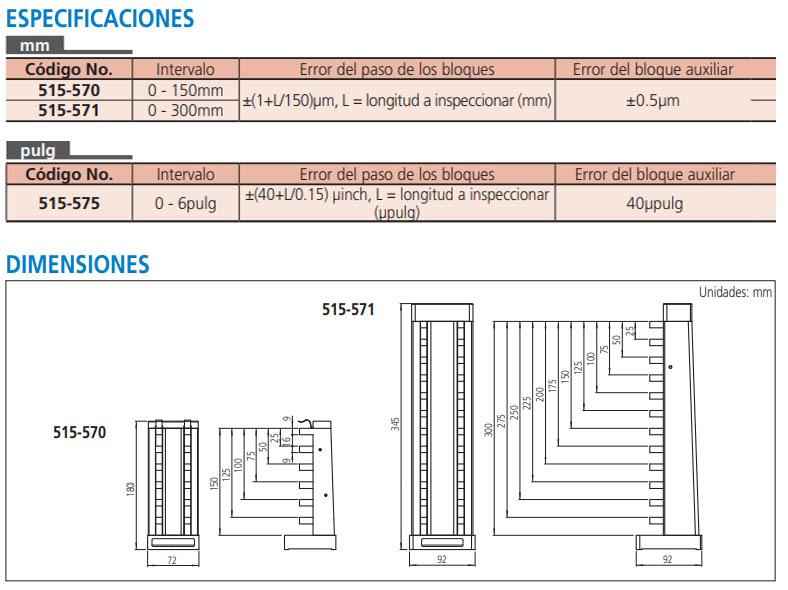 patrón para micrómetros de profundidad serie-515 especificaciones dimensiones